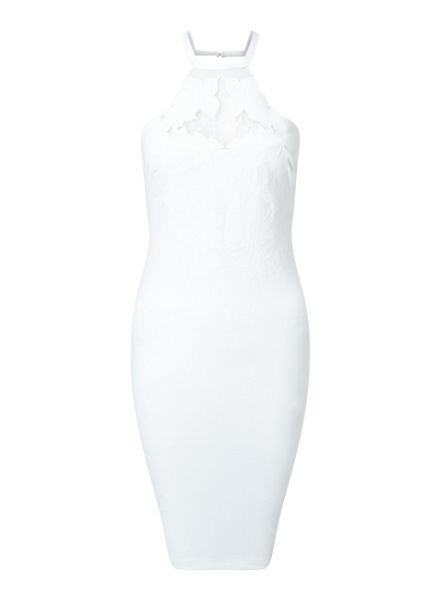 Miss Selfridge White Applique Bodycon Dress
