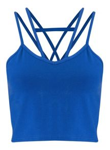 Miss Selfridge Petites Blue Strap Crop Top