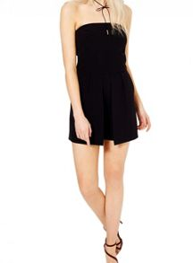 Miss Selfridge Black Bandeau Playsuit