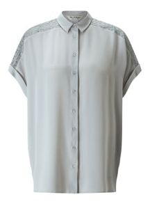 Miss Selfridge Grey Lace Insert Shirt