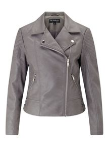 Miss Selfridge Grey Pu Biker