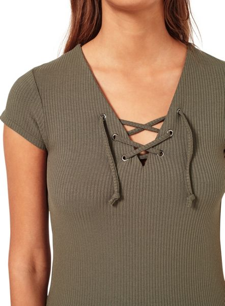 Miss Selfridge Khaki Shortsleeve Lace Up Tee