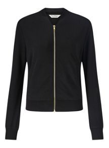 Miss Selfridge Black Jersey Bomber Jacket