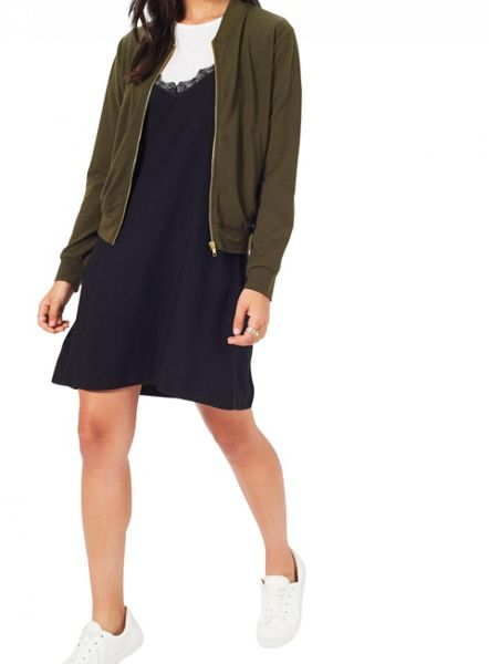 Miss Selfridge Khk Jersey Bomber