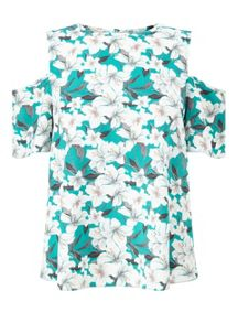 Miss Selfridge Lily Floral Cold Shoulder