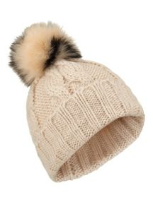 Miss Selfridge Nude Black Fur Pom Beanie