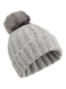 Miss Selfridge Grey Spacedye Ombre Fur Beanie