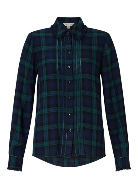 Miss Selfridge Green Check Pintuck Shirt