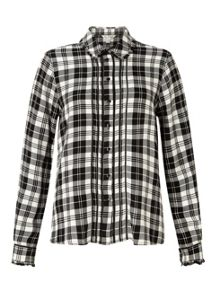 Miss Selfridge Mono Check Pintuck Shirt