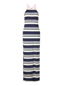 Miss Selfridge Navy And Cream Striped Maxi