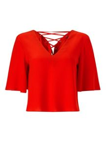 Miss Selfridge Red Lace Up Back Tee