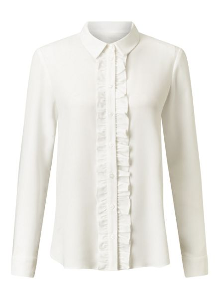 Miss Selfridge Ivory Frill Placket Shirt