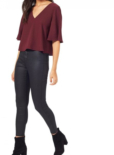 Miss Selfridge Burgundy Lace Up Back Tee