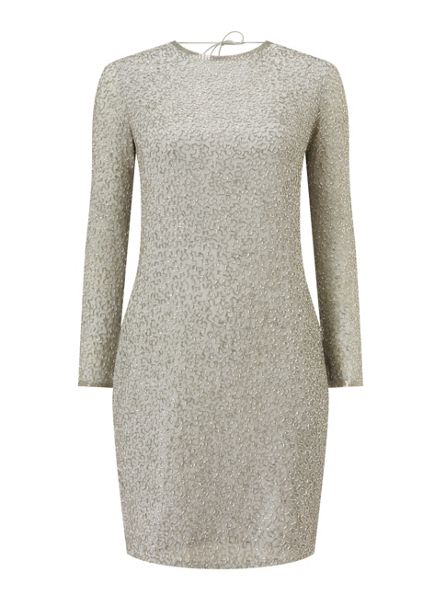 Miss Selfridge Silver Bead Cowl Dress
