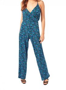 Miss Selfridge Print Wrap Jumpsuit