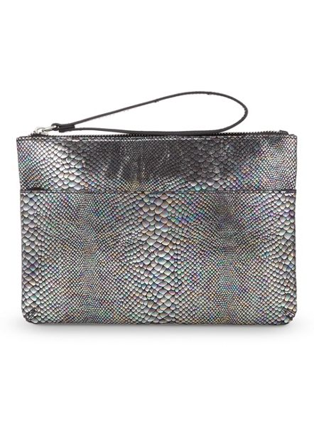 Miss Selfridge Irridescent Snake Clutch