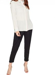 Miss Selfridge Grey Longline Tipping Shirt