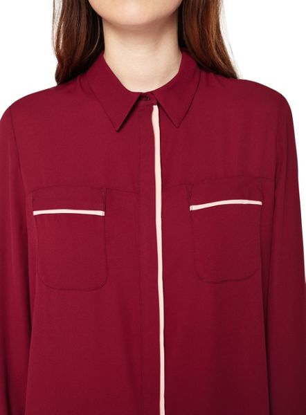 Miss Selfridge Burgundy Tipping Shirt