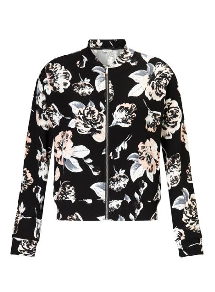 Miss Selfridge Black Floral Bomber