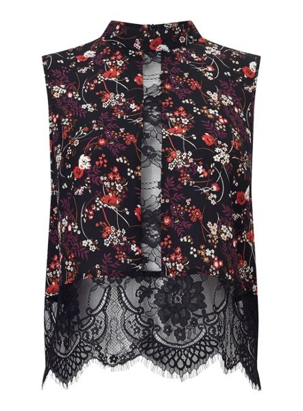Miss Selfridge Floral Print Lace High Neck