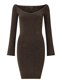 Black Lurex Bardot Rib Dress