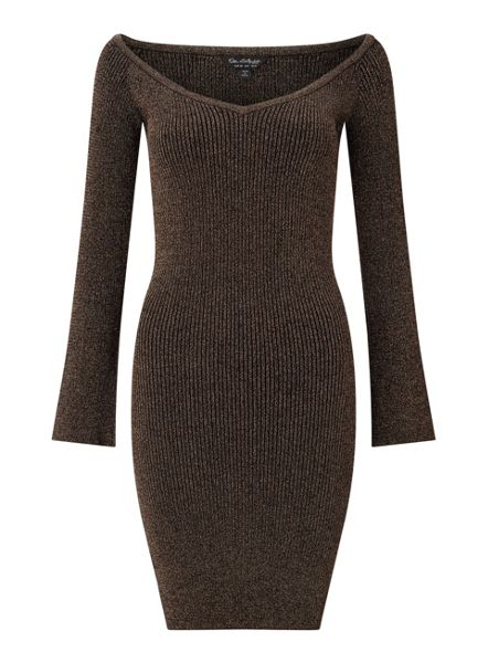 Miss Selfridge Black Lurex Bardot Rib Dress