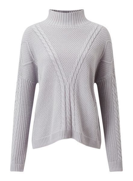 Miss Selfridge Gry Cable Chunky Jumper