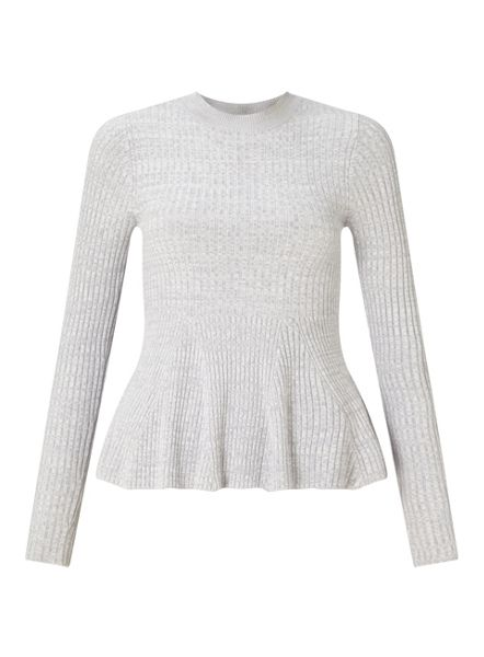 Miss Selfridge Gry Ls Gdt Peplm Top