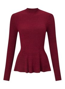 Miss Selfridge Red Ls Gdt Peplm Top