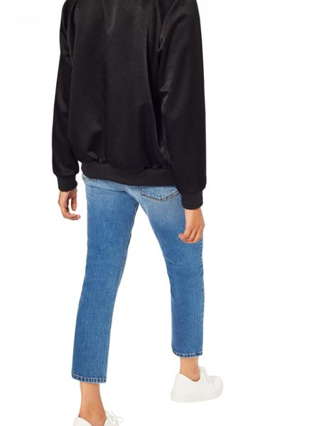 Miss Selfridge Black Satin Bomber