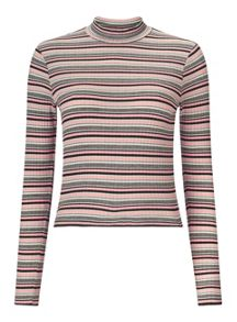 Miss Selfridge Pink Stripe Turtle Neck Crop