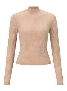 Miss Selfridge Camel Turtle Neck Crop Top