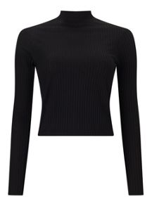 Miss Selfridge Black Turtle Neck Crop Top