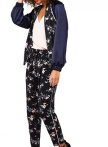 Miss Selfridge Navy Floral Bomber Jacket
