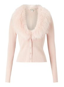 Miss Selfridge Blsh Fur Collr Cardi