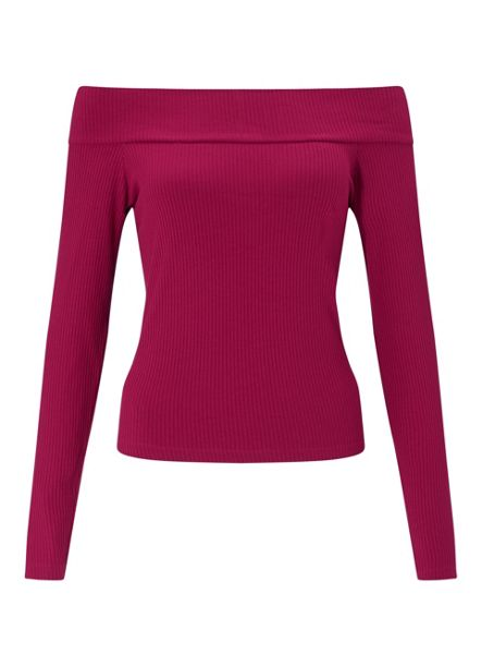 Miss Selfridge Burgundy Longsleeve Bardot Top