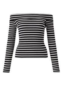 Miss Selfridge Stripe Long Sleeve Bardot Top