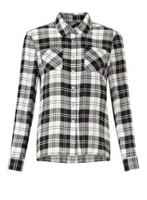Miss Selfridge Petite Mono Check Shirt