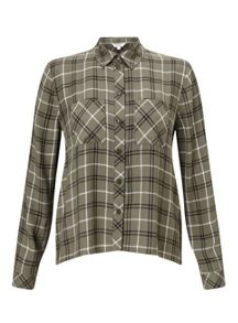 Miss Selfridge Petites Khaki Check Shirt