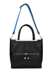 Miss Selfridge Black Metal Bar Tote