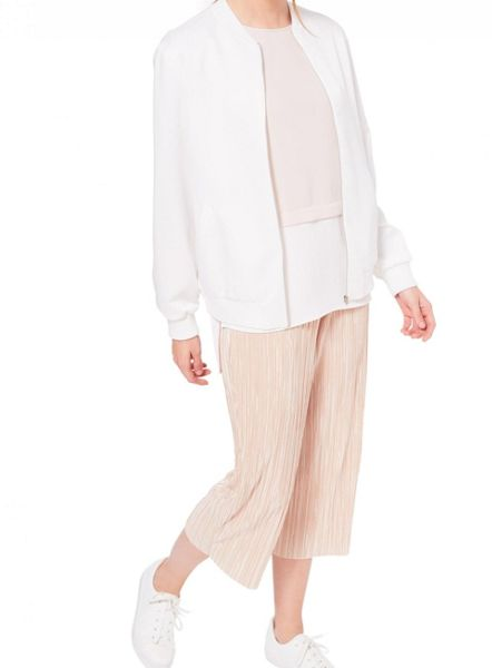 Miss Selfridge Ivory Satin Bomber