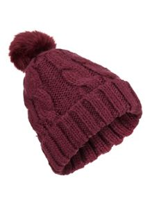 Miss Selfridge Burgundy Fur Pom Beanie