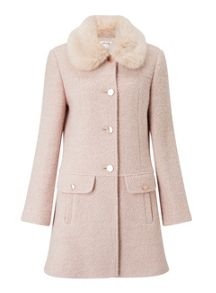 Miss Selfridge Blush Faux Fur Collar Coat