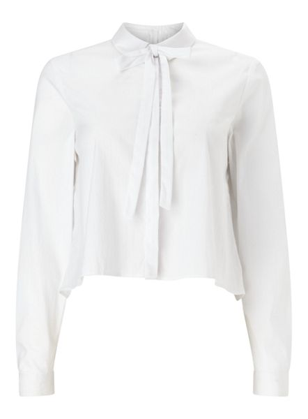 Miss Selfridge Pussybow Poplin Shirt