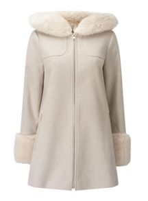 Miss Selfridge Stone Luxe Duffle Coat