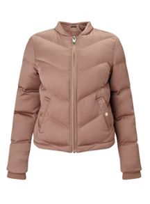Miss Selfridge Blush Satin Puffer Jacket