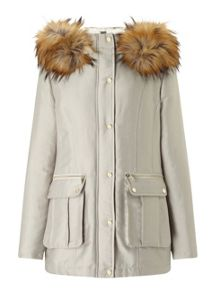 Miss Selfridge Grey Luxe Parka