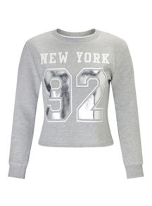 Miss Selfridge Petites Grey New York Sweat