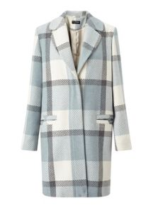 Miss Selfridge Blue Check Slouchy Coat