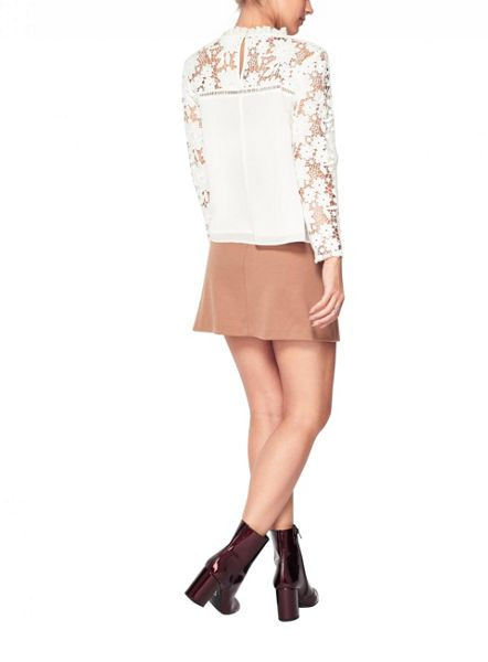 Miss Selfridge Petite Lace Sleeve Top